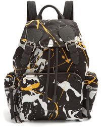 Burberry | Paint-effect Leather-trimmed Backpack | Lyst