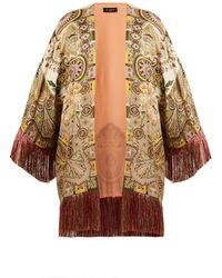 Etro - Fringed Paisley Print Satin Kimono - Lyst