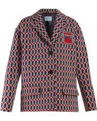 Prada - Oversized Houndstooth Jacquard Jacket - Lyst