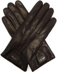 Prada - Logo Plaque Nappa Leather Gloves - Lyst