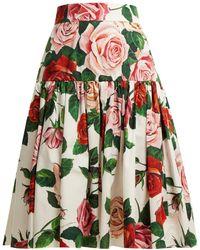 Dolce & Gabbana - Floral-print Cotton-poplin Midi Skirt - Lyst