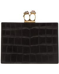 Alexander McQueen - Knuckle Crocodile-effect Leather Clutch - Lyst