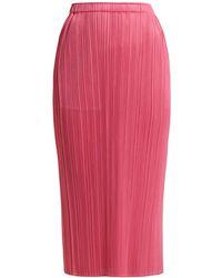Pleats Please Issey Miyake - High Waisted Pleated Skirt - Lyst