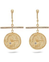 Azlee - Animal Kingdom Diamond & Yellow Gold Earrings - Lyst
