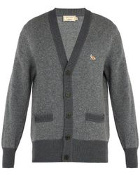 Maison Kitsuné - Logo-embroidered Wool Cardigan - Lyst