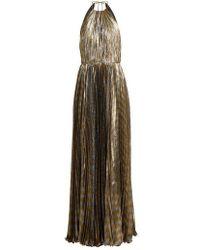 Maria Lucia Hohan - Pleated Silk-blend Lamé Halterneck Gown - Lyst