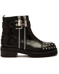 Alexander McQueen - Stud-embellished Leather Biker Boots - Lyst