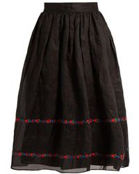 Jupe by Jackie - Seven And Seven Embroidered Cotton-organdy Skirt - Lyst