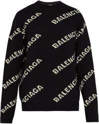 Balenciaga - Logo-intarsia Knitted Jumper - Lyst