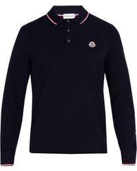 Moncler - Long Sleeved Cotton Piqué Polo Shirt - Lyst