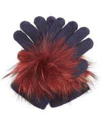 Yves Salomon - Fur-trimmed Knit Gloves - Lyst
