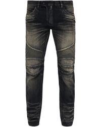 Balmain - Tapered Ribbed Inset Biker Jeans - Lyst