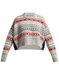 Miu Miu - Cropped Fair Isle Wool Sweater - Lyst