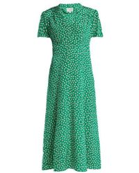 HVN - Morgan Flower Print Silk Dress - Lyst