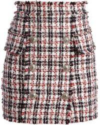 Balmain - High Waisted Mini Skirt - Lyst