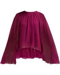 Giambattista Valli - Cape Sleeve Silk Georgette Blouse - Lyst