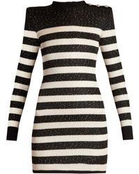 Balmain - Striped Knit Micro Sequin Mini Dress - Lyst