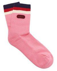 Gucci - Logo-embellished Striped Socks - Lyst