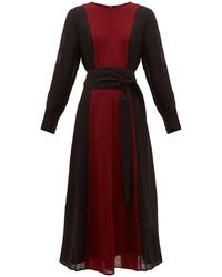 Cefinn - Panelled Belted Voile Midi Dress - Lyst