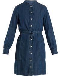 A.P.C. - Jane Mandarin-collar Cotton Shirtdress - Lyst