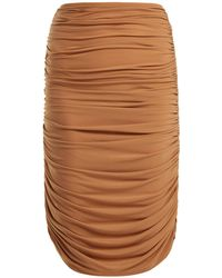 Norma Kamali - Shirred Ruched Skirt - Lyst