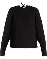 MUVEIL - Tie-back Cable-knit Cotton-blend Sweater - Lyst