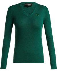 Rochas - Logo-appliqué Ribbed Wool Sweater - Lyst