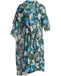 Balenciaga - Draped Floral Printed Midi Dress - Lyst