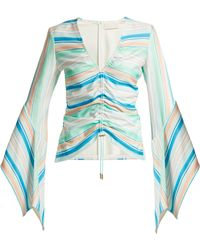 Peter Pilotto - Striped Bell-sleeve Jersey Top - Lyst