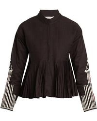 Mes Demoiselles - Artemis Stand-collar Embroidered Pleated Jacket - Lyst