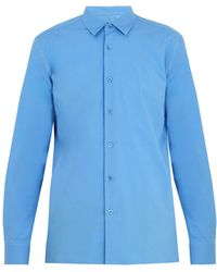 Raf Simons - Logo-embroidered Spread-collar Cotton Shirt - Lyst