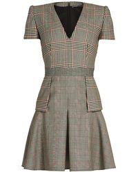 Alexander McQueen | Peplum-waist Checked Dress | Lyst