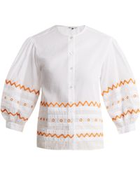 Jupe by Jackie - Agrigan Embroidered Cotton Organdy Blouse - Lyst