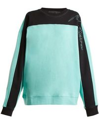 Martine Rose - Logo-embroidered Contrast-panel Cotton Sweatshirt - Lyst