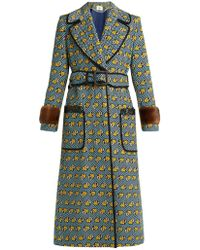 Fendi - Heart -print Fur-trimmed Cotton-blend Coat - Lyst
