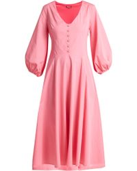 STAUD - Robe midi en popeline de coton Veronica - Lyst