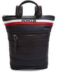Moncler Cerro Logo Embroidered Quilted Backpack - Black