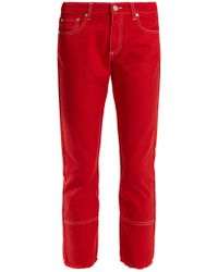 MSGM - High-rise Straight-leg Cropped Jeans - Lyst