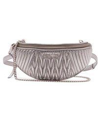 Miu Miu - - Matelassé Quilted Leather Belt Bag - Womens - Silver - Lyst