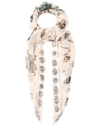 Alexander McQueen - Jewelled-bug And Skull-print Silk Scarf - Lyst