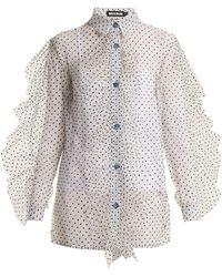 House of Holland | Polka-dot Ruffled Sheer-tulle Shirt | Lyst