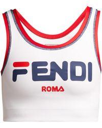 Fendi - Mania Logo Print Sports Bra - Lyst