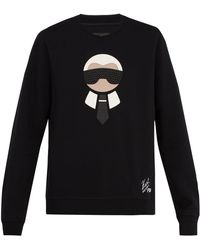 Fendi - Sweat-shirt laine mélangée à appliqué logo Karlito - Lyst