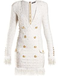 Balmain - V-neck Button-embellished Dress - Lyst