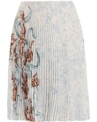 Prada - Pleated Rabbit Print Skirt - Lyst