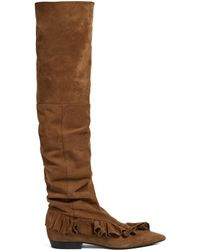 J.W. Anderson | Ruffled Suede Slouched Over-the-knee Boots | Lyst