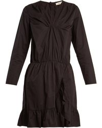 Mes Demoiselles - Amazone V Neck Ruffle Trimmed Cotton Dress - Lyst
