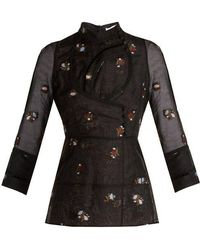 Erdem - - Orea High Neck Floral Embroidered Blouse - Womens - Black - Lyst