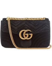 a1d6e2b97283 Gucci Gg Marmont Chevron-velvet Shoulder Bag in Black - Lyst