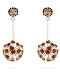 Erdem - - Crystal Embellished Floral Drop Earrings - Womens - Burgundy - Lyst